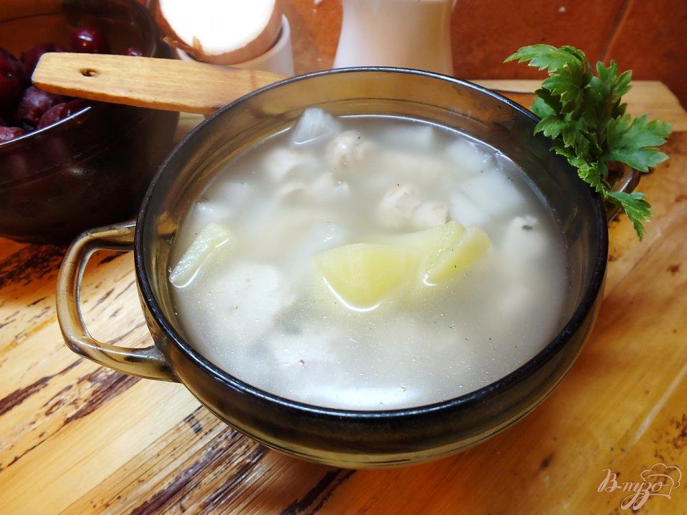 Фото приготовление рецепта: Суп с шампиньонами и мясом шаг №6