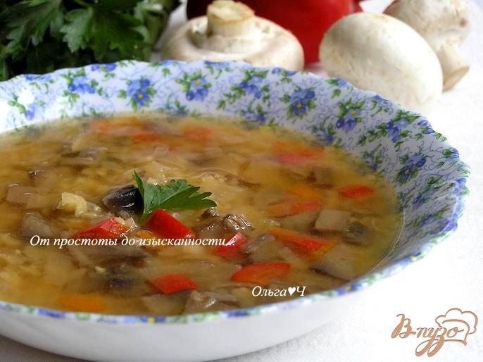 Фото приготовление рецепта: Гороховый суп с грибами и сладким перцем шаг №5