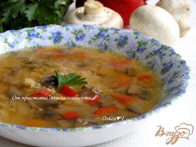 Рецепт Гороховый суп с грибами и сладким перцем