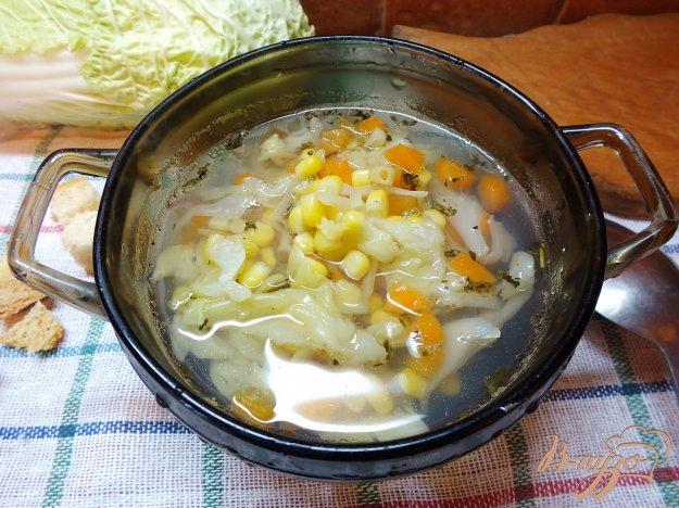 фото рецепта: Суп из кукурузы с капустой и морковью