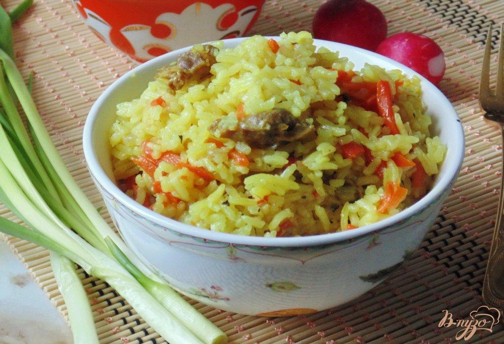 Фото приготовление рецепта: Куриные желудки с рисом шаг №9