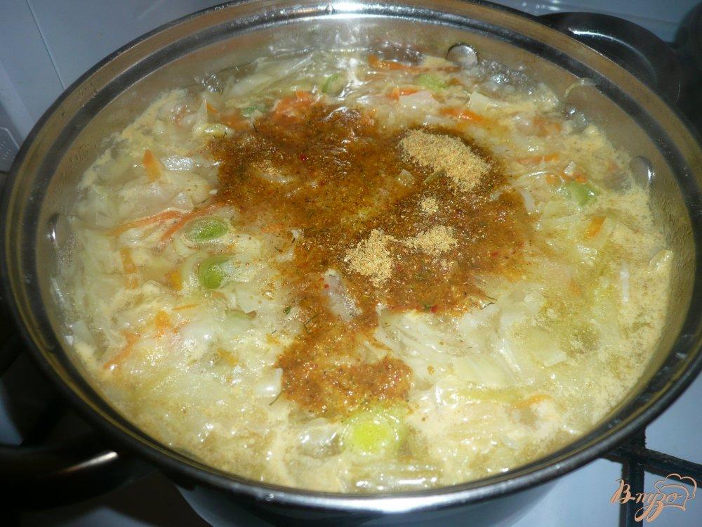 Фото приготовление рецепта: Щи на курином бульоне с луком пореем шаг №10