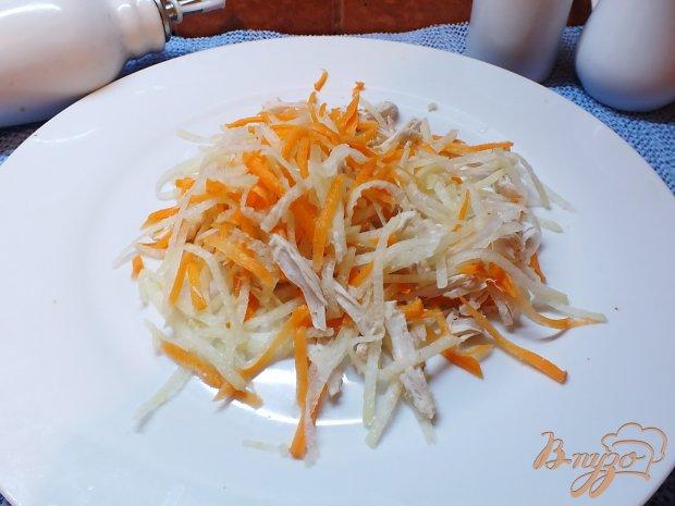 Салат мясной с морковью и дайконом
