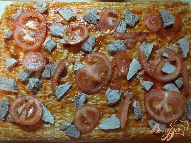 Пицца на корже из лаваша с говядиной
