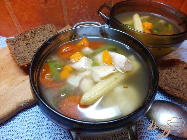 Суп с початками кукурузы и черри