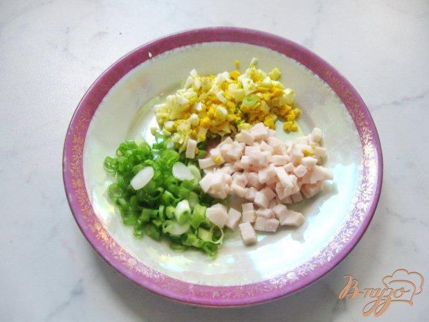 Блины с припеком из яиц, зеленого лука и ветчины