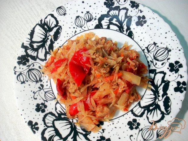 Капуста тушёная с мясом и с болгарским перцем