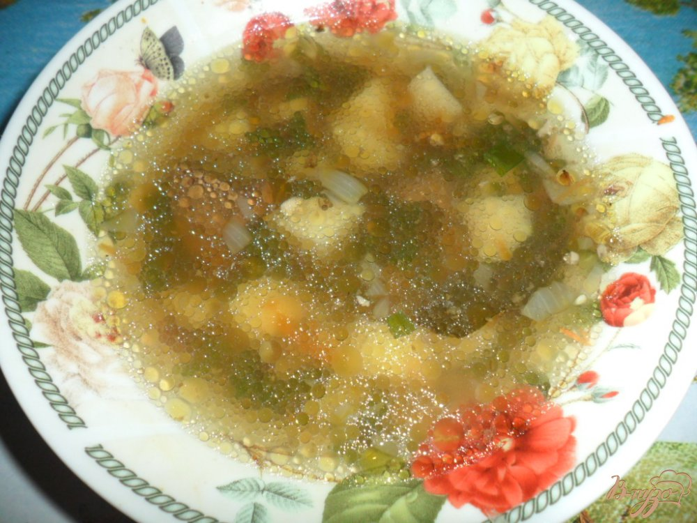 Фото приготовление рецепта: Суп с гусиной печенью шаг №6