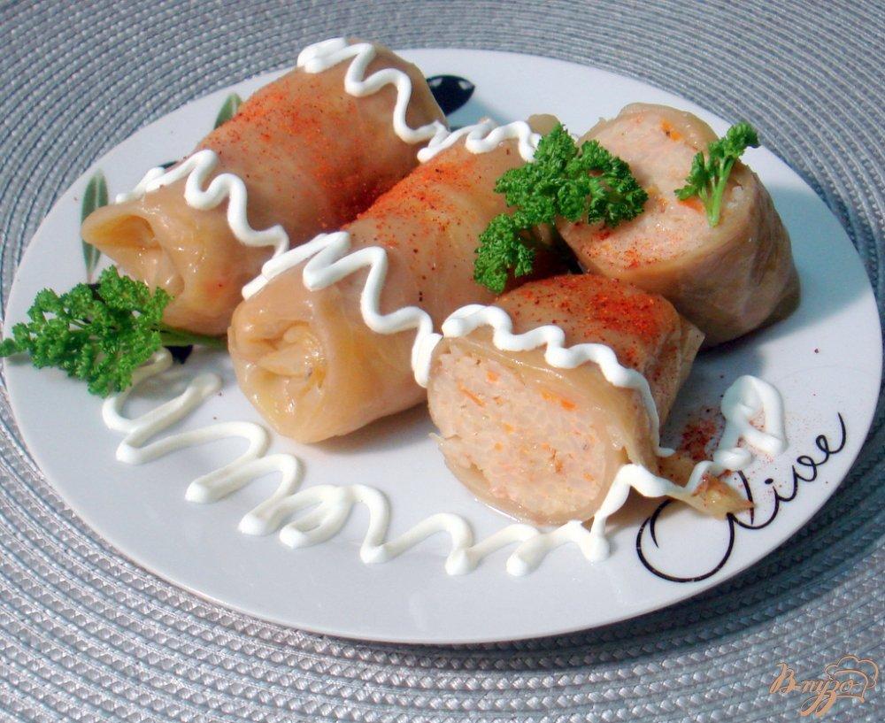 Фото приготовление рецепта: Голубцы с мясом, рисом и овощами шаг №9