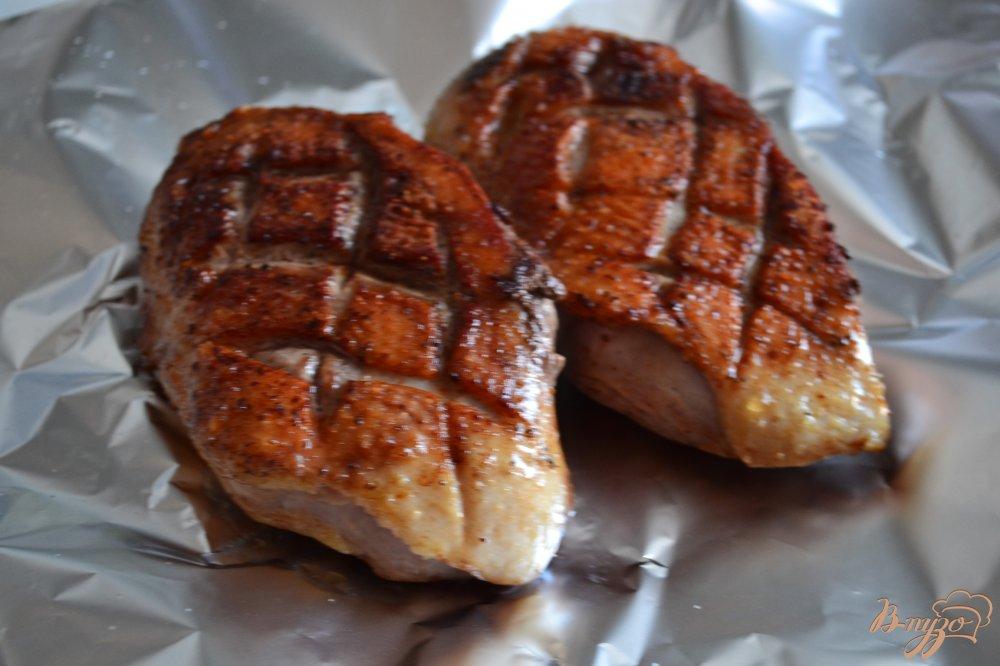 Фото приготовление рецепта: Утиная грудка с тыквенно-яблочным пюре шаг №3