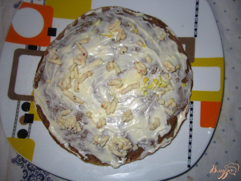 Фото приготовление рецепта: Печеночный тортик с яйцом и плавленным сырочком шаг №5