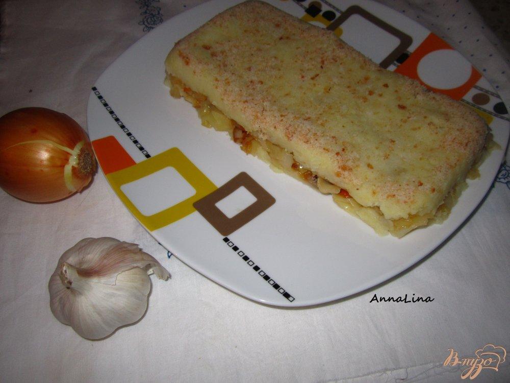 Фото приготовление рецепта: Картофельная запеканка с капустой шаг №4