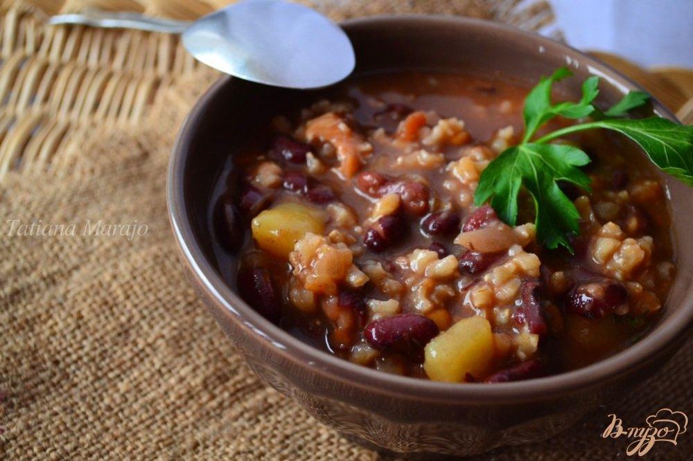 Фото приготовление рецепта: Густой овощной суп на курином бульоне шаг №5