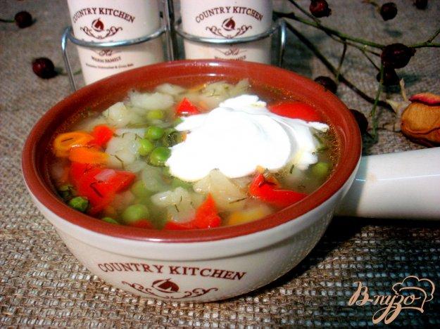 фото рецепта: Суп с зелёным горошком и перцем