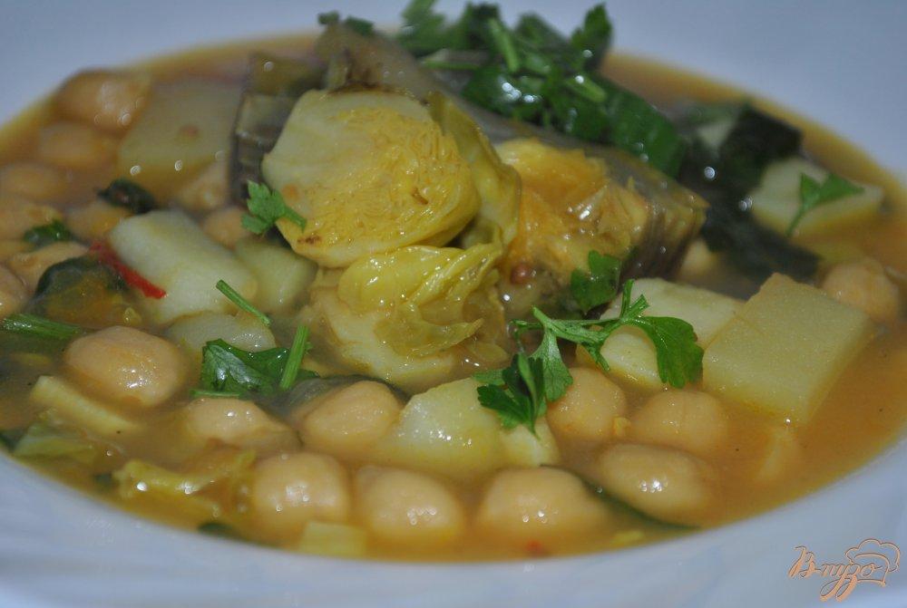 Фото приготовление рецепта: Суп-крем с брюссельской капустой и артишоками шаг №14