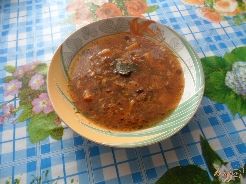 Фото приготовление рецепта: Украинский суп харчо с грецкими орехами шаг №10
