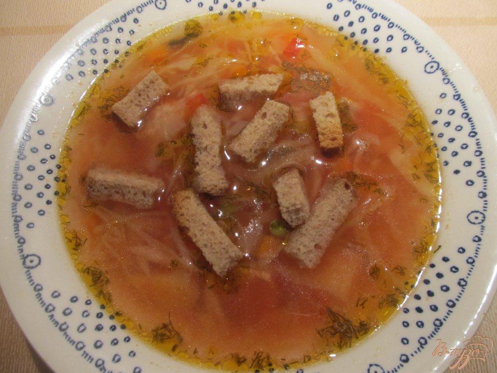 Фото приготовление рецепта: Томатный суп с горошком шаг №7