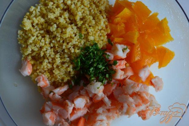 Салат с булгуром, креветками и апельсином