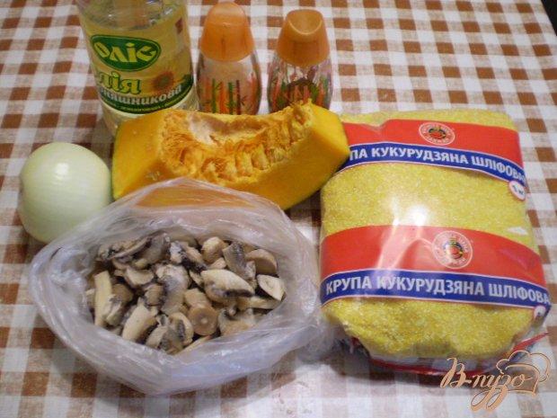 Кукурузная каша с грибами и тыквой