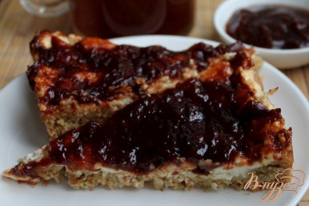 Овсяный пирог с творогом и абрикосовым повидлом