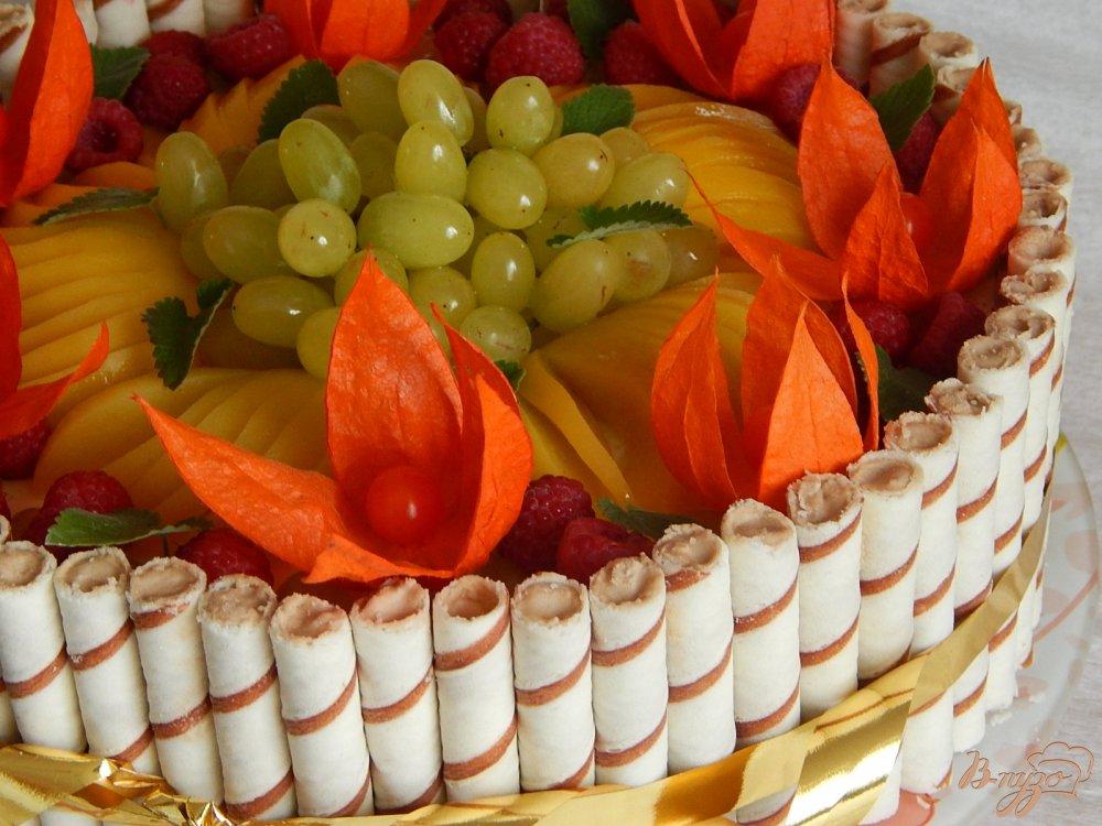 Фото приготовление рецепта: Торт  творожно - фруктовый шаг №15