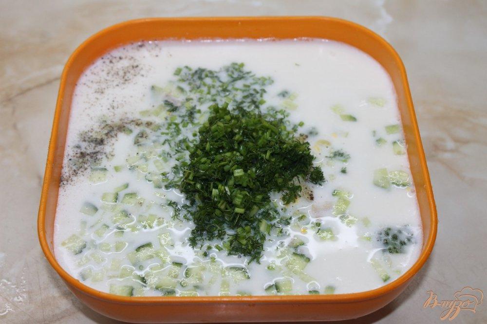 Фото приготовление рецепта: Окрошка мясное ассорти шаг №4