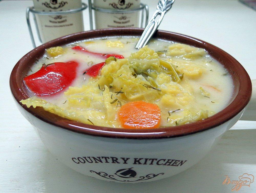Фото приготовление рецепта: Суп с савойской капустой шаг №10