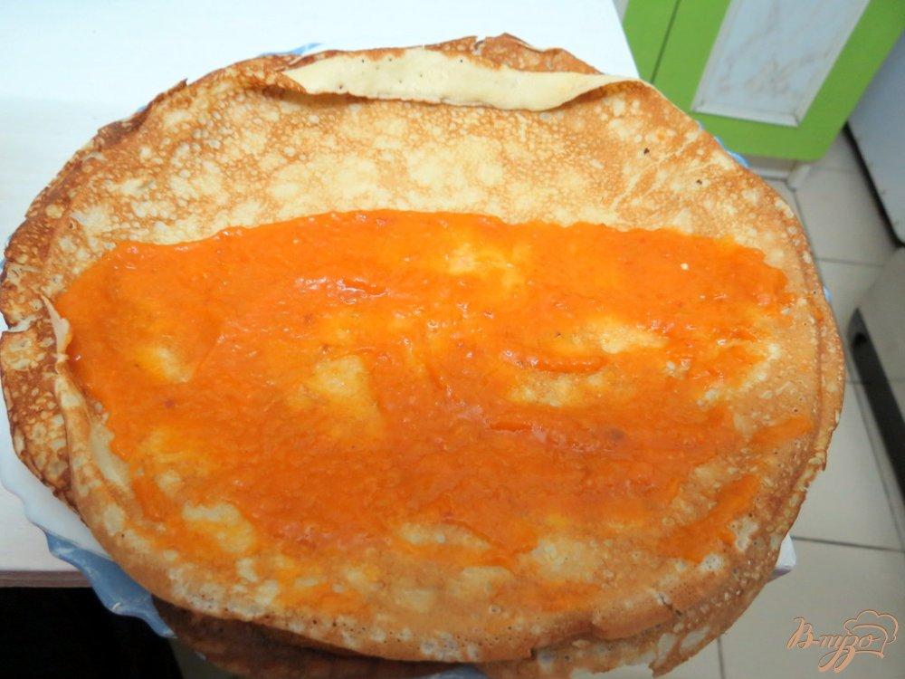 Фото приготовление рецепта: Блины с абрикосами. шаг №15