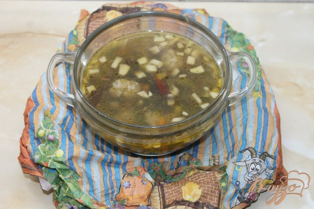 фото рецепта: Суп с шампиньонами и мясными фрикадельками