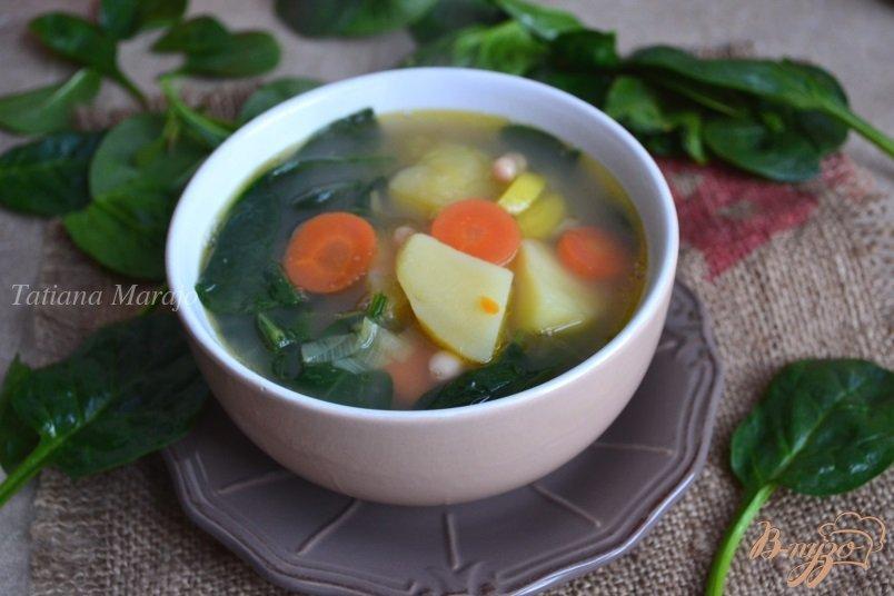 Фото приготовление рецепта: Легкий овощной суп со свежим шпинатом шаг №4