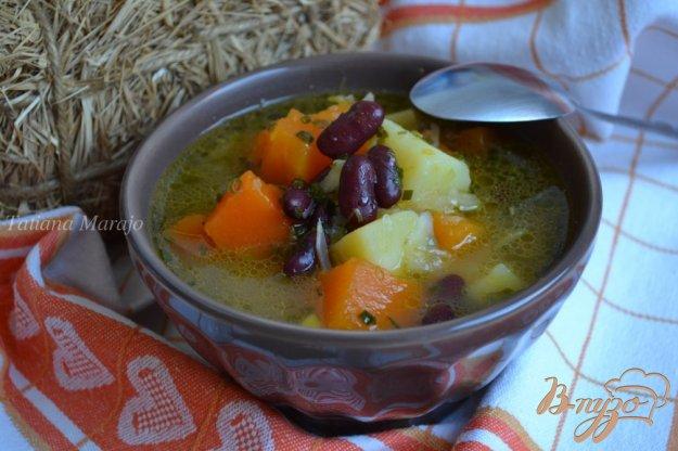 фото рецепта: Суп из белокочанной капусты с кусочками тыквы
