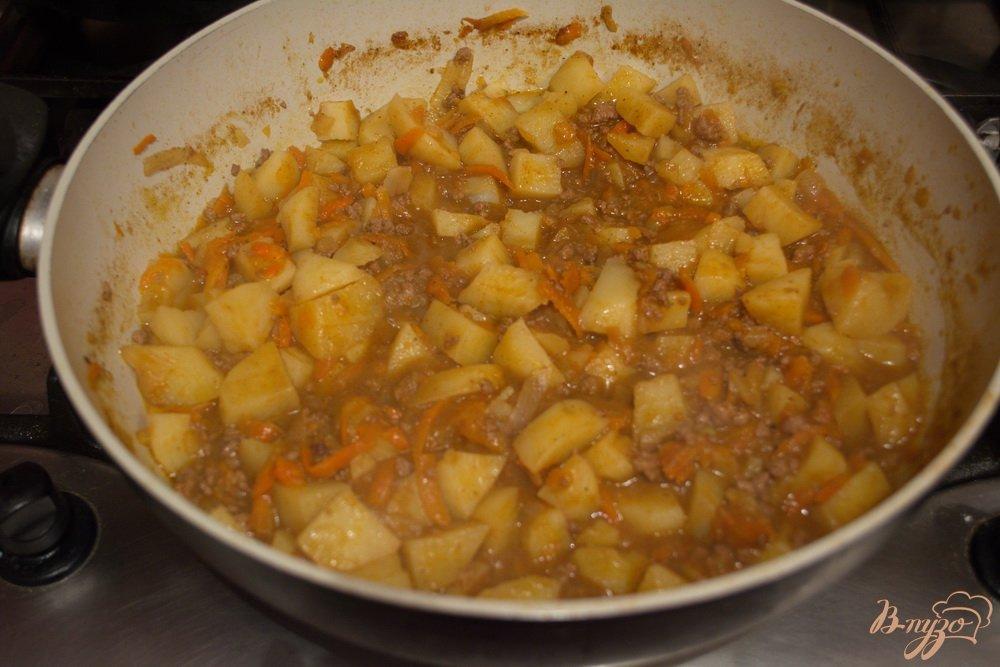 Фото приготовление рецепта: Говяжье рагу с фаршем шаг №8