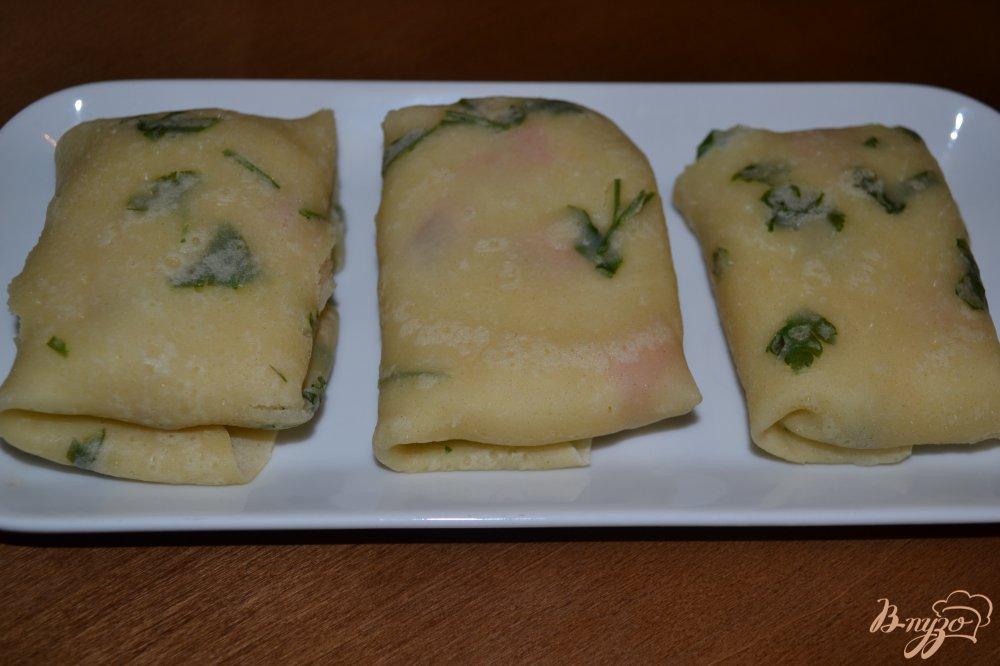 Фото приготовление рецепта: Постные блины с картофелем и зеленью шаг №12