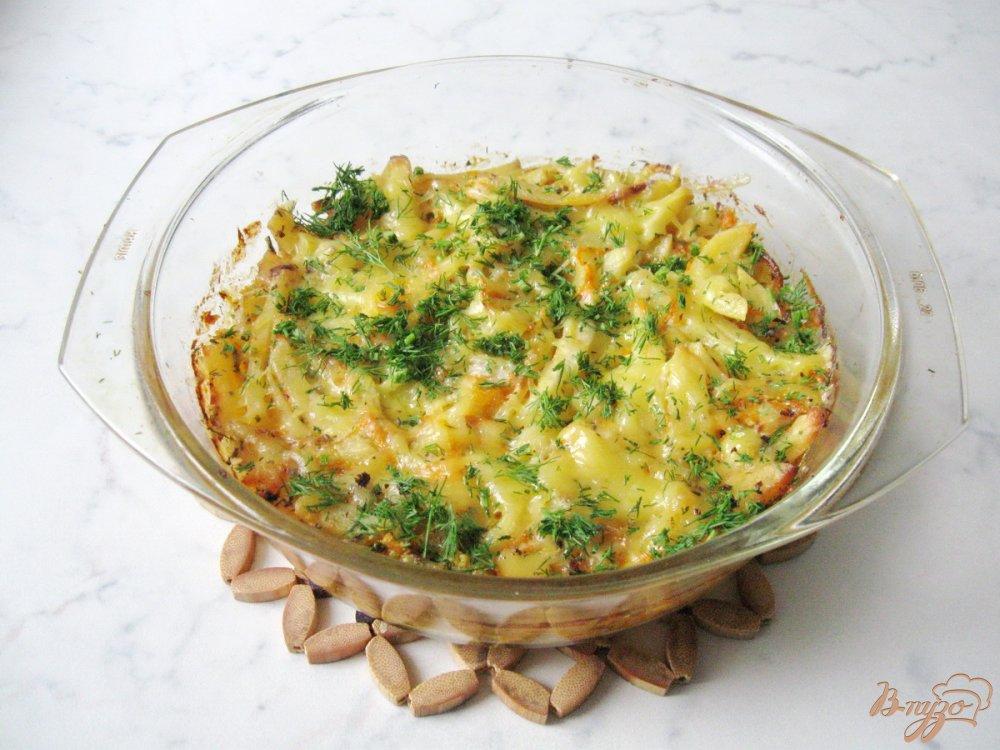 Фото приготовление рецепта: Картофель с тыквой в сливках шаг №8