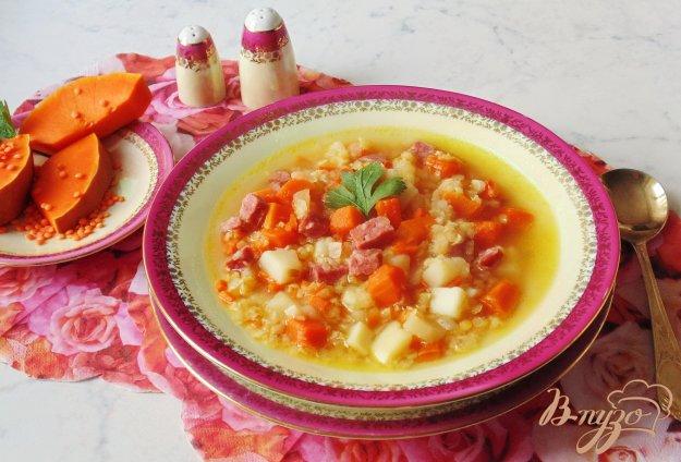 фото рецепта: Суп с тыквой и красной чечевицей