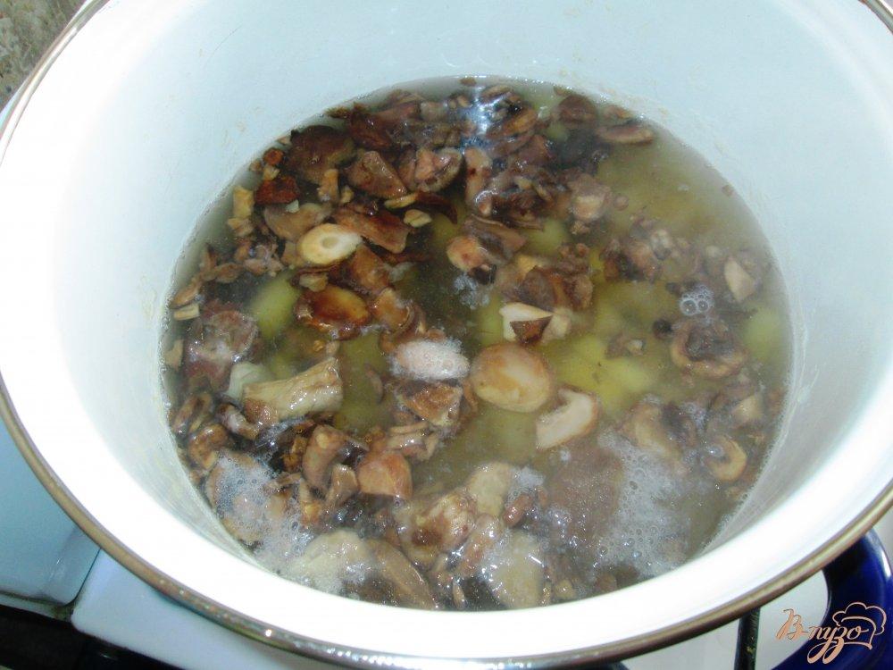 Фото приготовление рецепта: Суп из шампиньонов с лапшой шаг №4