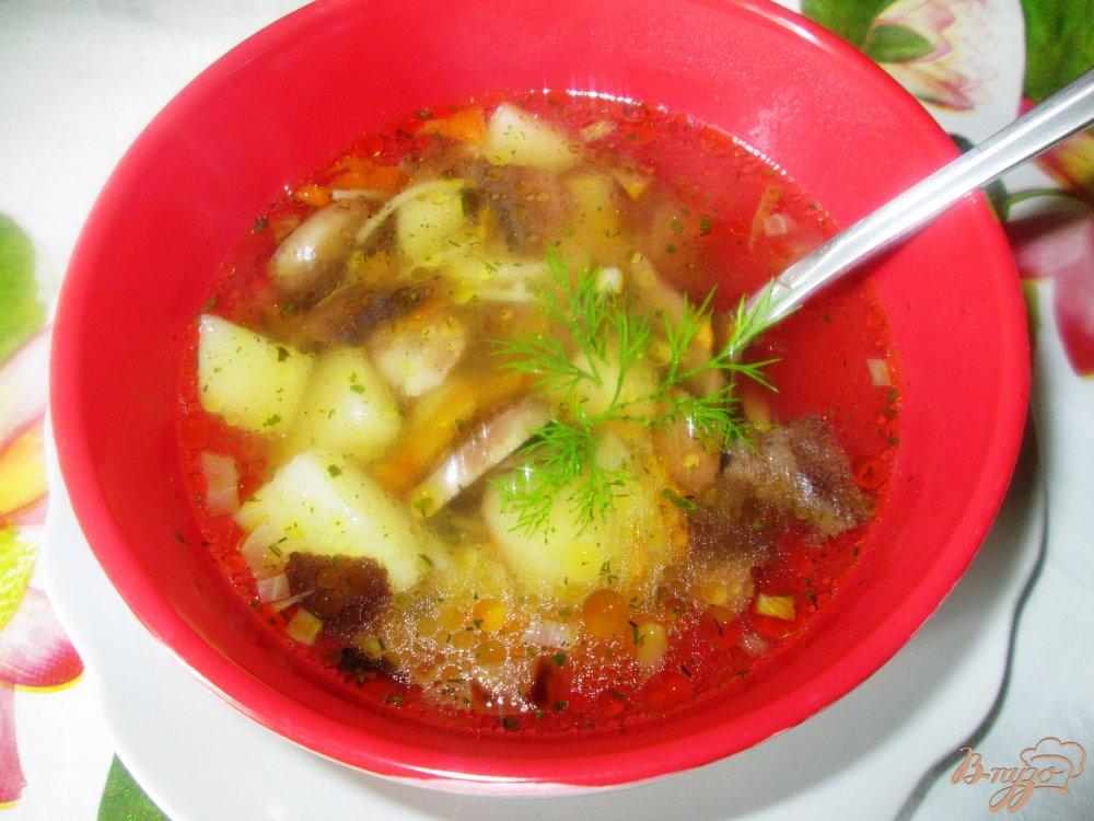 Фото приготовление рецепта: Суп из шампиньонов с лапшой шаг №7