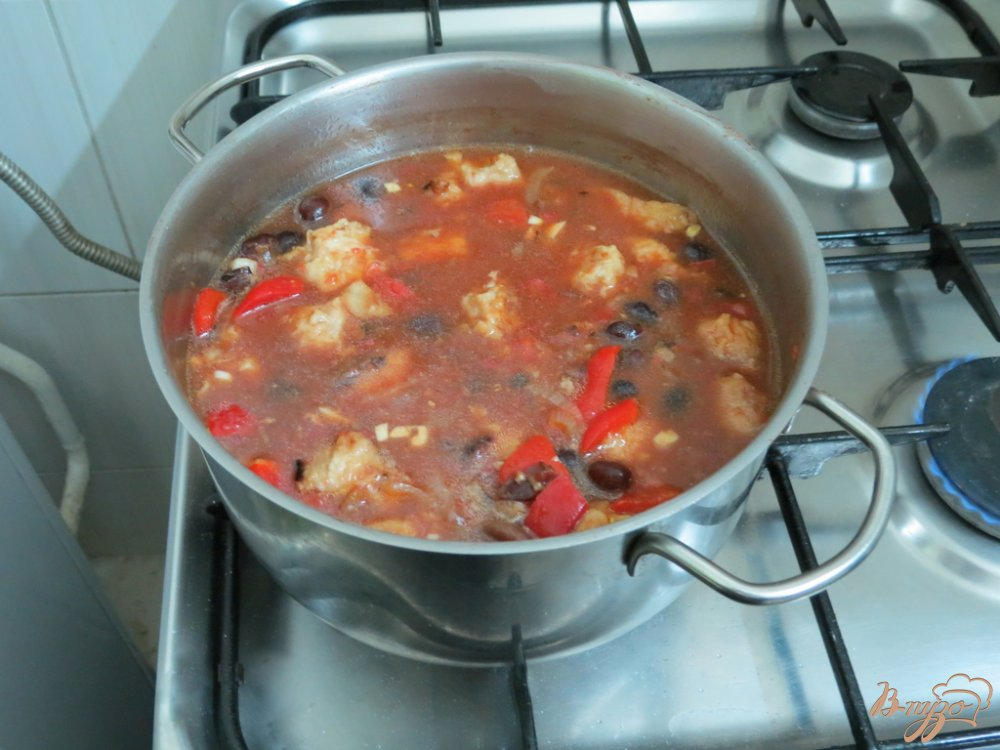 Фото приготовление рецепта: Фасоль со свининой шаг №8