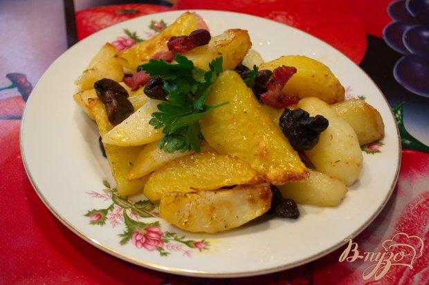 Быстрый картофель с беконом и грибами