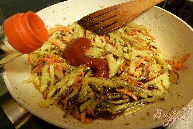 Жаренная кольраби с соевым соусом