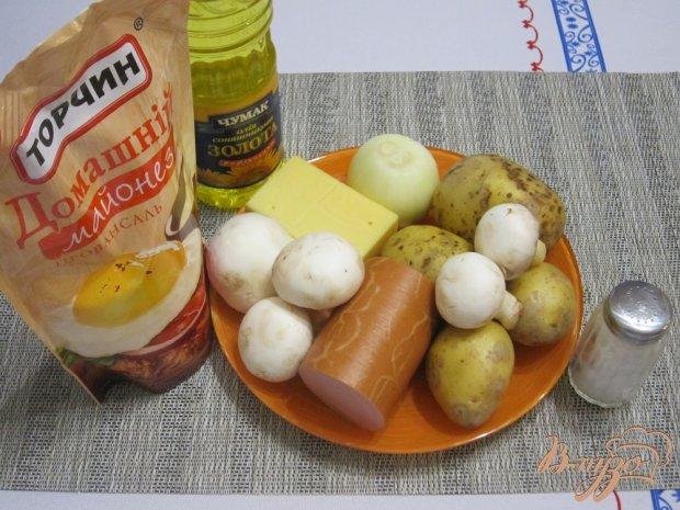 Рецепт Запеканка с грибами и колбасой