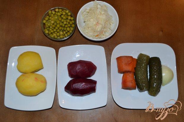 Рецепт Салат Винегрет с зеленым горошком и кислой капустой