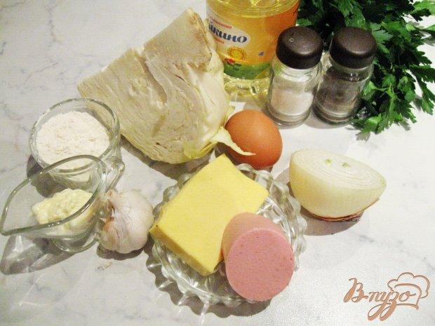 Рецепт Оладьи из капусты с колбасой и сыром