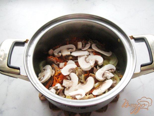 Каша из пшена с куриными желудками и грибами