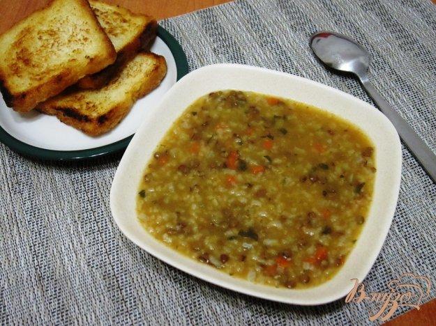фото рецепта: Суп с рисом и чечевицей