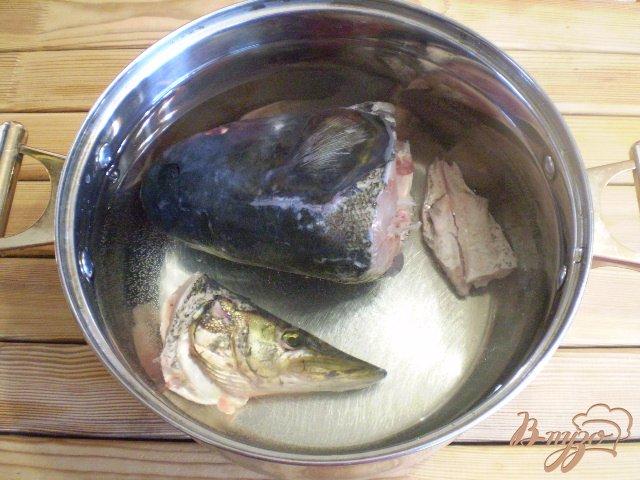 Фото приготовление рецепта: Суп рыбный из головы щуки и толстолоба шаг №2