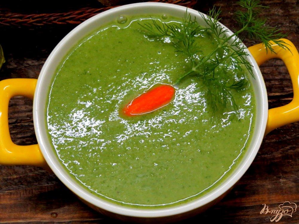 Фото приготовление рецепта: Суп пюре из горошка и шпината шаг №9