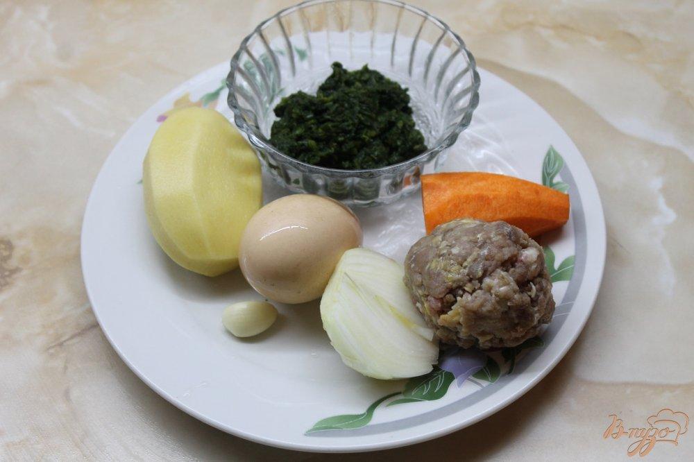 Фото приготовление рецепта: Шпинатный суп с фрикадельками шаг №1