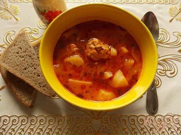 фото рецепта: Томатный суп с фрикадельками в мультиварке