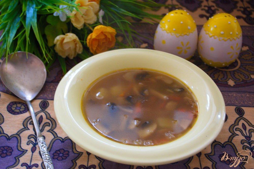 Фото приготовление рецепта: Постный гречневый суп с грибами шаг №6